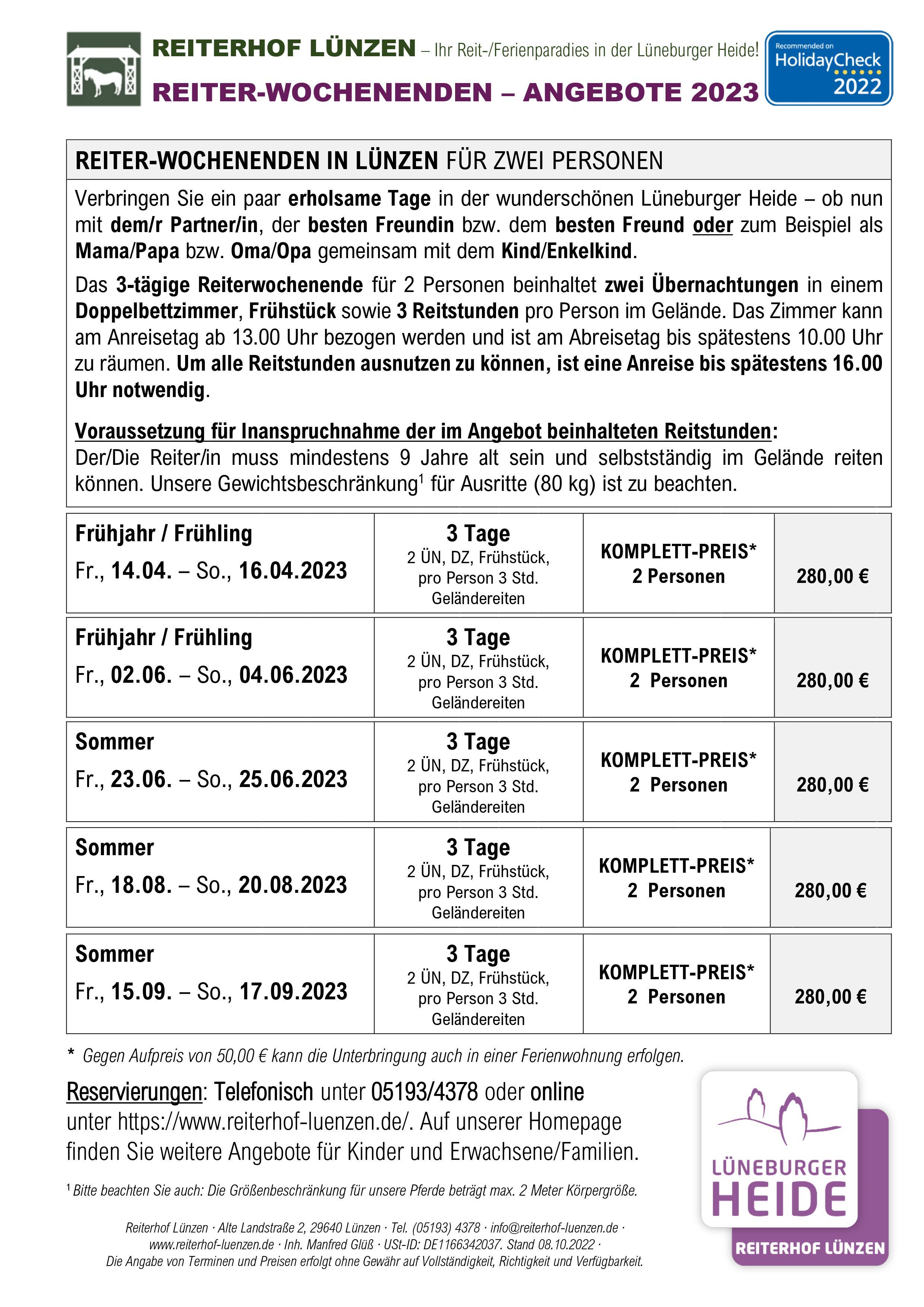 Reiter-Wochenenden Angebote
