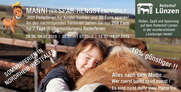 Sommerferien in NRW - 7 Tage Reiterferien nur 268 Euro - 10% gespart!
