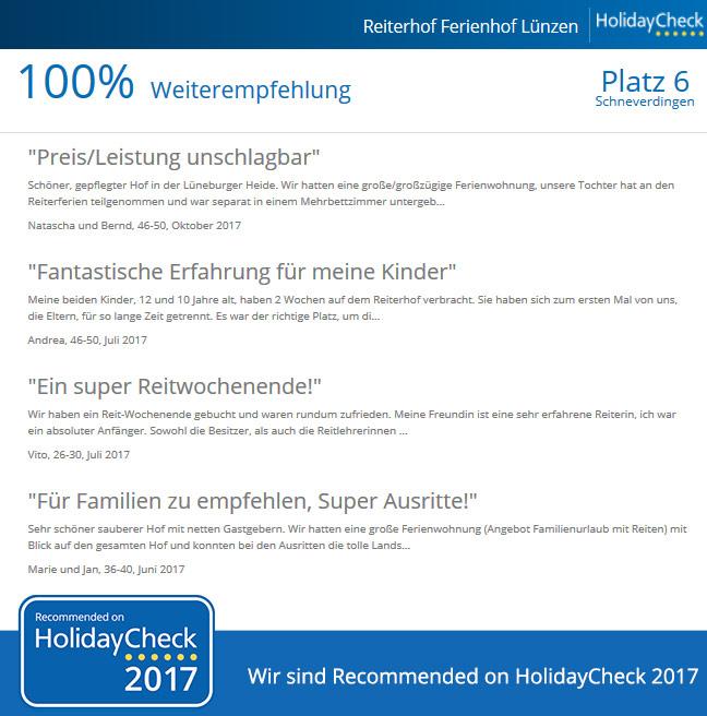 Reiterhof Luenzen - 100 Prozent Weiterempfehlungsquote bei HolidayCheck Stand