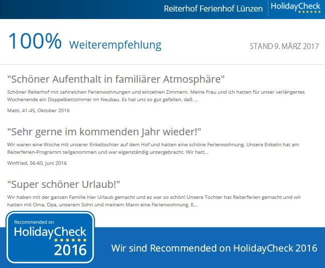 Reiterhof Luenzen - 100 Prozent Weiterempfehlungsquote bei HolidayCheck Stand 2017-03-09